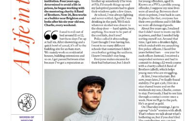 Ben Dalby, a mentee from abandofbrothers Brighton, is interviewed for 'A Life in the Day' in the Sunday Times magazine.